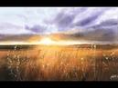 Landscape Painting Wheat Field in Watercolor