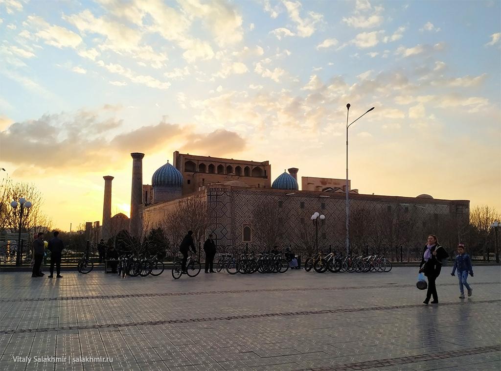 Регистан на закате, Узбекистан, Самарканд 2019