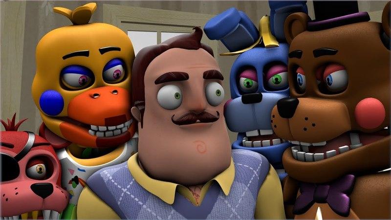 [SFM Neighbor/ FNAF] Neighbor Hunts The New Age Rockstar Animatronics