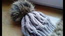 Шапка спицами из объемных кос. Часть 2 Women's hats knitting