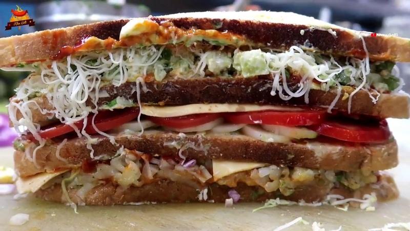 300- BIG FOUR LAYER Melting Cheese Sandwich | BAAHUBALLI GRILLED SANDWICH Recipe