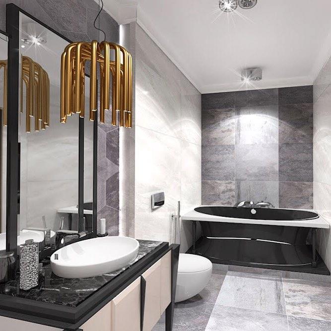 Сочетание серого, белого и черного цвета в ванной комнате.