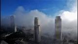 Niebla baja en Benidorm TIMELAPSE Nubes por debajo de los edificios
