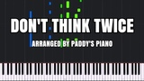Don't Think Twice - Kingdom Hearts 3 Piano Tutorial (Synthesia) Paddy's Piano