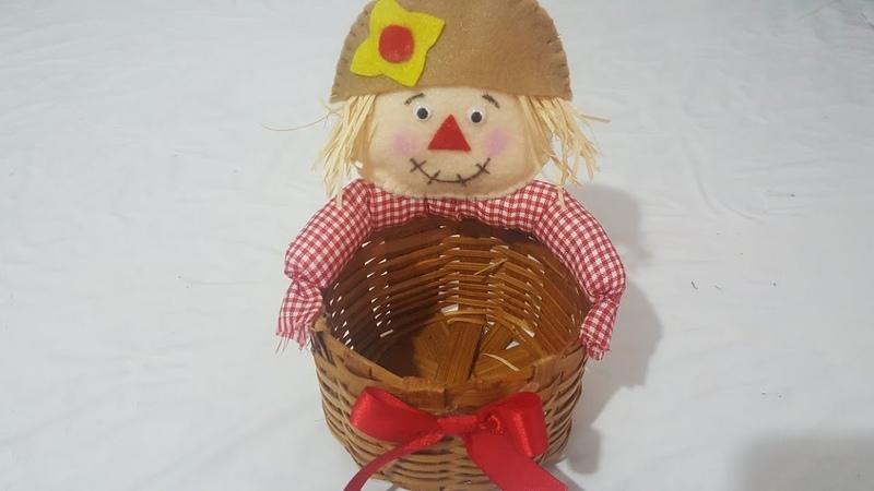 Porta doce de espantalho para decoração de mesa de festa junina artesanato com Cris pinheiro
