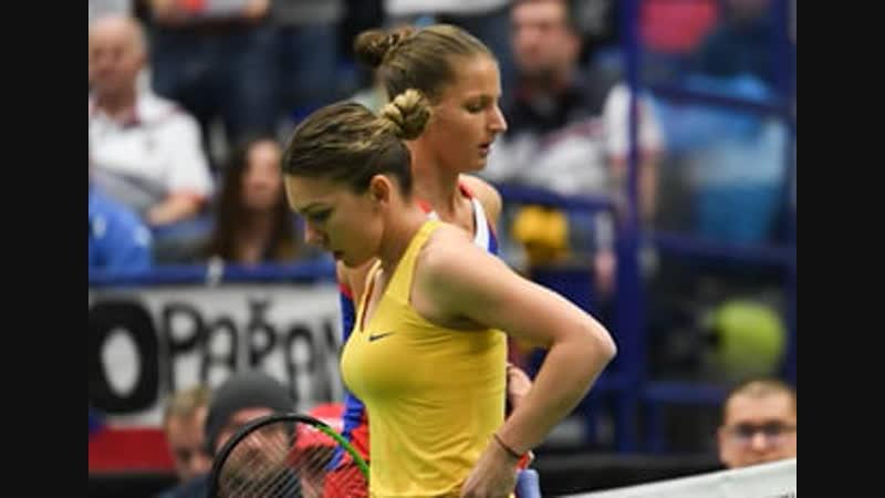 Каролина Плишкова (Чех) - Симона Халеп (Рум) Fed Cup 2019 Karolina Pliskova (Cze) - Simona Halep (Rou)