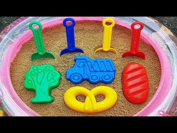 ABC song for kids Play with toy shovels and sand molds in Outdoor Pool with sand