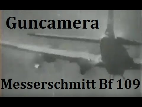 B-24 and B-17 going down Guncamera Messerschmitt Bf109 Focke Wulf 190 and 88mm Flak firing 1944
