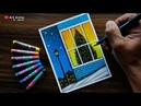 Christmas drawing with Oil Pastels - step by step