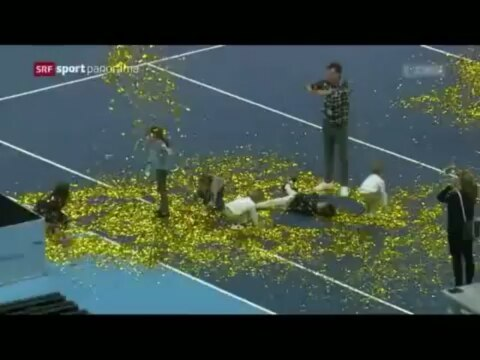 """Mirka Federer Fan Page on Instagram """"Video of a cute moment after Rogers victory in Basel. 😍 Children were playing in the golden confetti and Mir..."""
