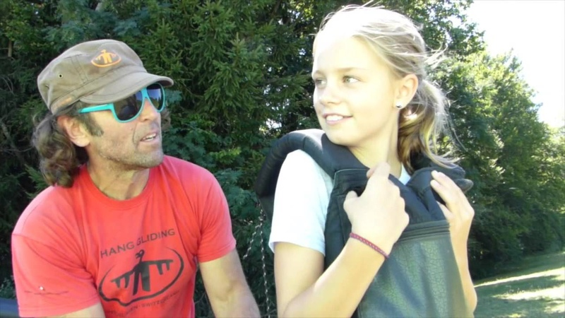 Hang Gliding Interlaken, Switzerland, 10 year old girl music by Robert Miles, Children