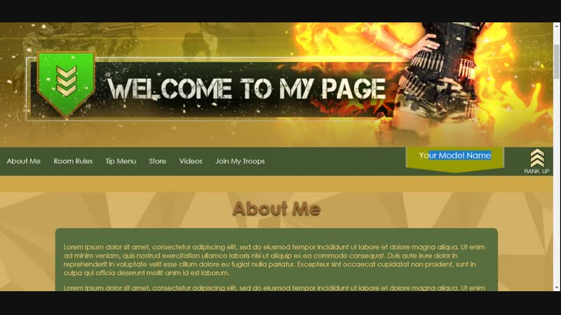 Army theme myfreecams profile design - template preview