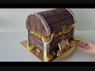 Торт сундук с кладом