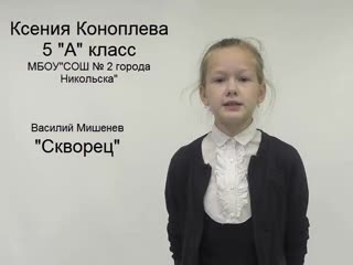 Стихотворение В. Мишенева читает Ксения Коноплева, ученица 5 класса МБОУ