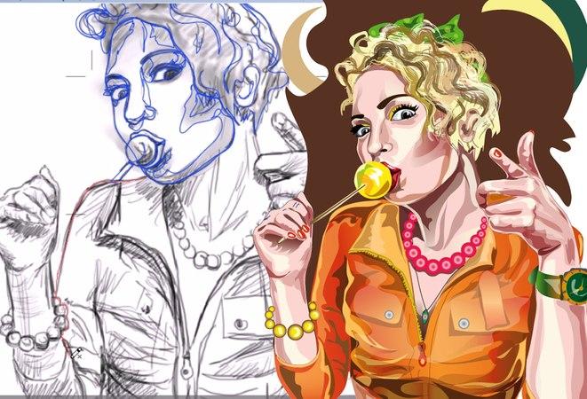 Candy girl in Adobe Illustrator