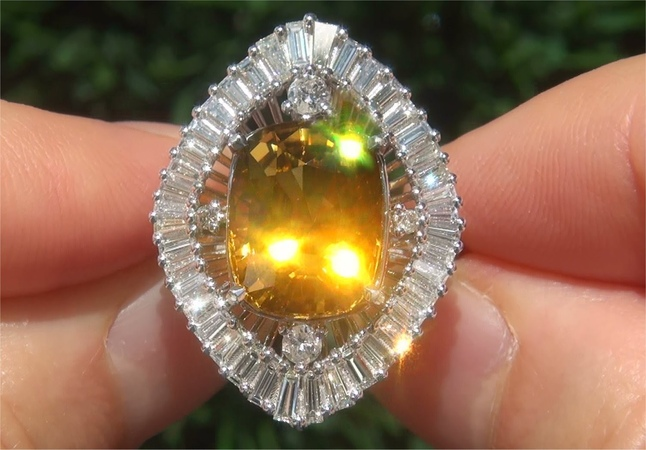 GIA Certified FLAWLESS Natural Yellow Tourmaline Diamond 18k White Gold Ring - C592