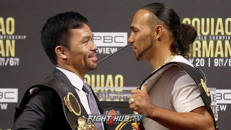 MANNY PACQUIAO LAUGHS IN KEITH THURMANS FACE DURING SECOND FACE OFF IN NEW YORK