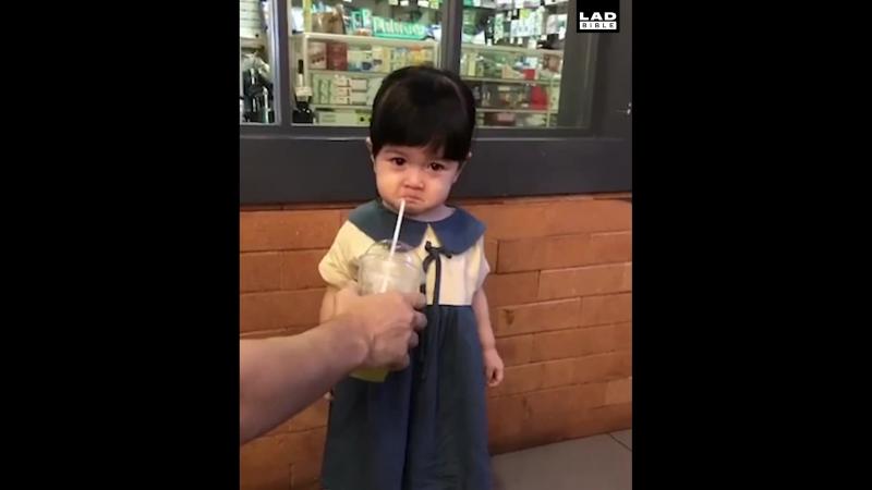 LADbible - Sip Of Drink Cheers Up Little Girl