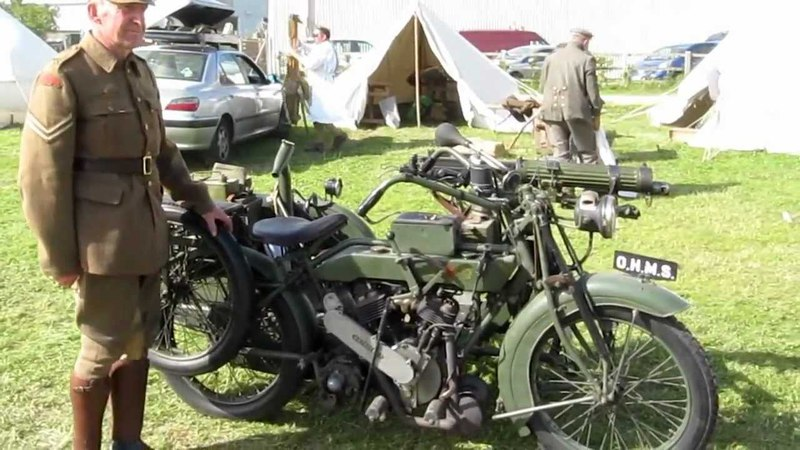 Matchless and Vickers machine gun Motorbike and sidecar from 1916-17