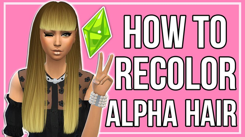 The Sims 4: How to Make Custom Content Hair Recolors | Alpha Hairs Ombre Texture