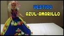 Vestido Azul-Amarillo a crochet para Muñeca