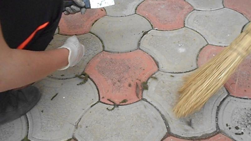 уборка мха из под тротуарной плитки