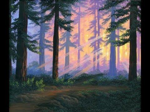 Miten maalata 2 metsä auringonlaskun aikaan akryyli kankaalle