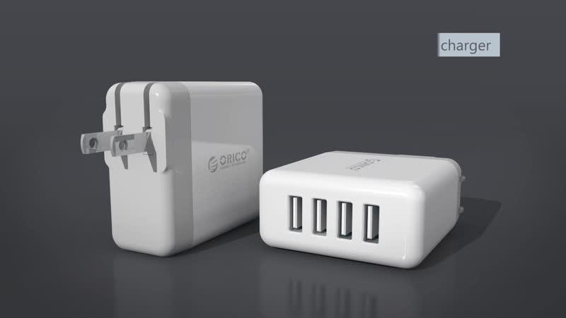ORICO DCM-4U 4 USB Супер зарядное устройство 5V6.8A 34W Выход MAX Настенная зарядка для телефона - белый