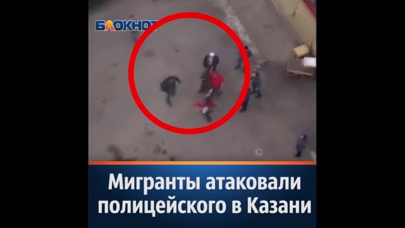 очевидцы сняли на видео потасовку, которую мигранты устроили с правоохранителем