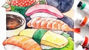 SUSHI - HUNGRY Watercolor series -