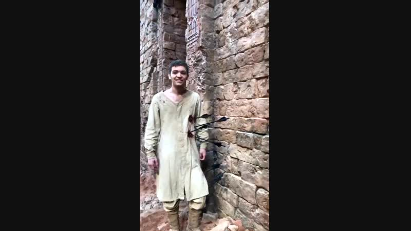 Newold video of Taron on set of @robinhoodmovie with his co-star @Scot_greenan 2017