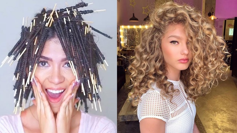 NO HEAT Straight to Curly Hair Tutorial Compilation