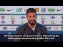 Olivier Giroud says Thierry Henry's in the wrong camp