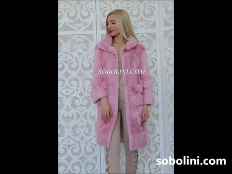 The collection of pink coats from Sobolini Spanish rabbit fur coat floral print inlay Limited c