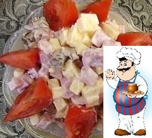 Салат из ветчины и сыра, с грибами и помидорами