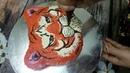 Как украсить торт кремом Голова тигра