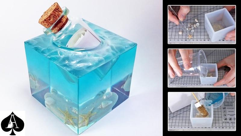 Message in a Bottle Resin Paperweight with Ocean Sea Foam Effect DIY