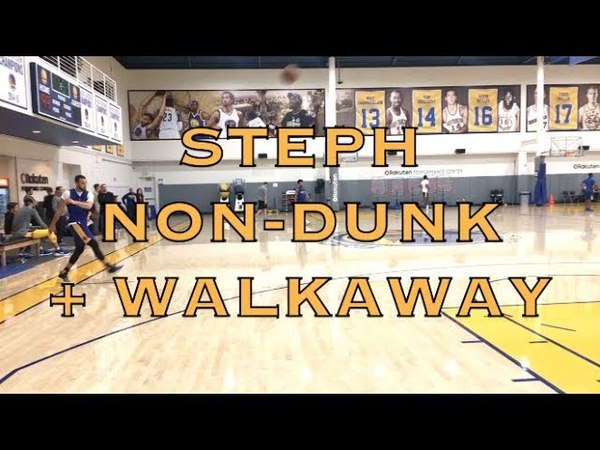 Steph Curry non-dunk after routine walkaway shot from practice in Oakland, 2 days b4 2018 WCF G3