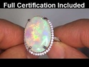 ESTATE 10 67 Carat Australian Opal Diamond Cocktail Vintage Ring Solid 14k Gold