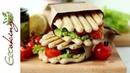 Ферментированные рисовые хлебцы сэндвичи с овощами гриль и зеленым соусом vegan gluten free
