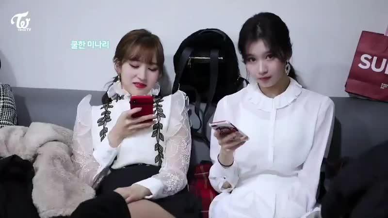 Sana trying to kiss Mina the moment she saw the camera but Mina doing the same movement to avoid her Sana's