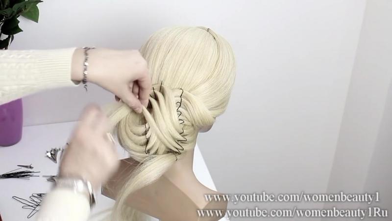 Свадебная прическа на среднюю длину волос.
