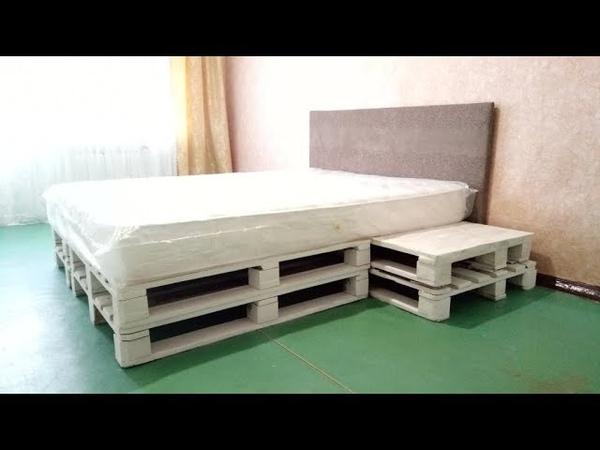 Кровать из поддонов (паллет) своими руками Bed of pallets with their own hands