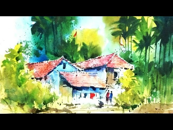 How to draw beautiful watercolour landscapein my guru Milind mulick sir wayby his student Rahul.