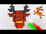 How to draw pixel art Christmas- Como dibujar un RENO