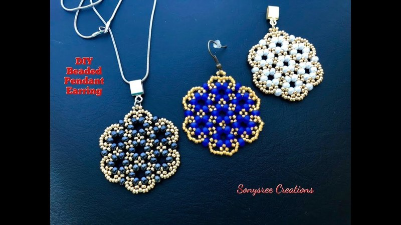 Beaded Pendant or Earrings 💞 Super Easy Tutorial 👍🏻