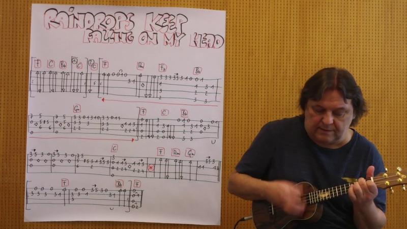 Fingerstyle UKULELE Lesson 196 RAINDROPS KEEP FALLING ON MY HEAD (BJ Thomas)