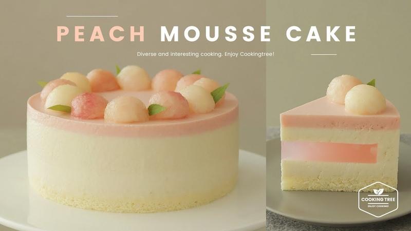♥감성자극♥ 복숭아 무스케이크 만들기🍑 Peach mousse cake Recipe ピーチムースケーキ   Cook