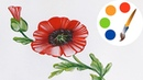 How to Paint a Poppy by a flat brush one stroke