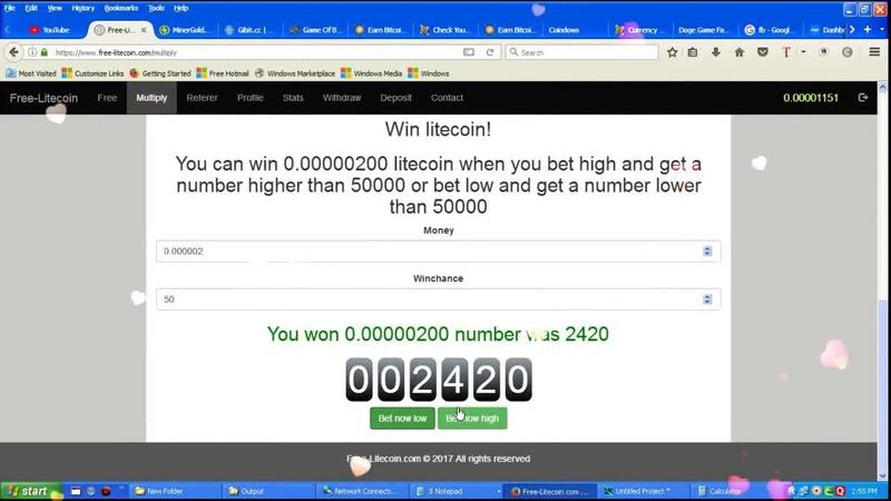 Free litecoin par day 20000 satoshi game Multiply Litecoin 1 COIN WIN